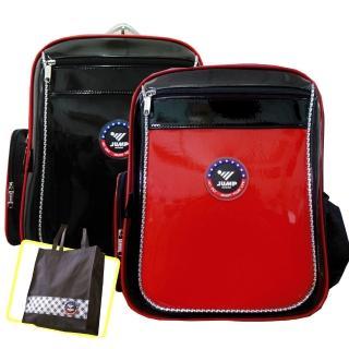 【JUMP】MIT元氣護脊書背包+MIT手提萬用袋(紅/黑 JP1)