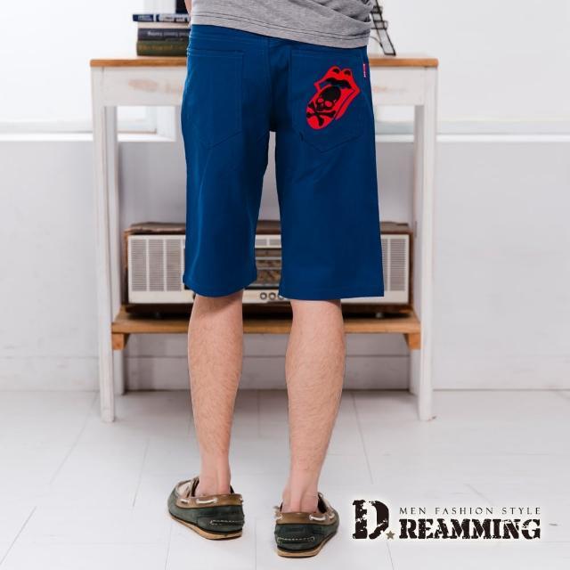 【Dreamming】嘻哈喇舌骷顱徽章伸縮休閒短褲(共二色)