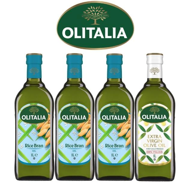 【Olitalia奧利塔】樂活玄米油+特級冷壓橄欖油料理組(1000 ml x 4瓶)