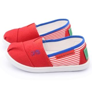 【童鞋城堡】義大利Roberta 中童 條紋懶人休閒鞋(615002-紅)