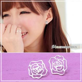 【維克維娜】時尚經典。優雅鏤空大玫瑰花925純銀耳環