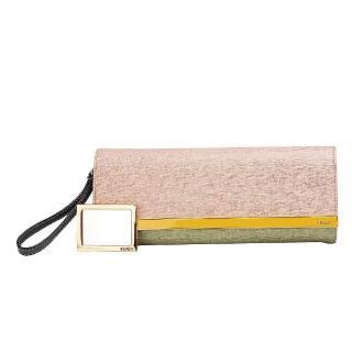 【FENDI】經典防刮小牛皮三色磁釦手拿包(粉紅X草綠X白8BP069-00HTJ-F0A2D)