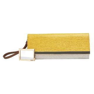 【FENDI】經典防刮小牛皮三色磁釦手拿包(黃X白X灰8BP069-00HTJ-F0A2E)