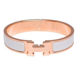 【HERMES】H LOGO琺瑯細版手環(白X玫瑰金H700001F-WHI-ROSE GOLD)