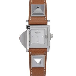 【HERMES】Medor系列金屬鉚釘小牛皮石英仕女腕錶(銀x棕色-Q年ME3.201-BROWN)