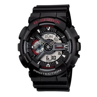 【CASIO 卡西歐】G-SHOCK 黑潮時尚裝置指針雙顯概念錶(黑/55mm/GA-110-1ADR)