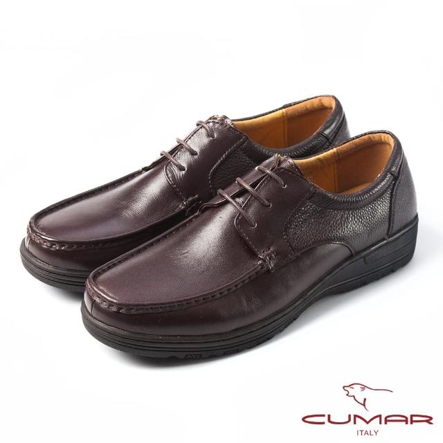 【CUMAR】CUMAR舒適上班族‧混搭牛皮綁帶氣墊鞋(咖啡色)