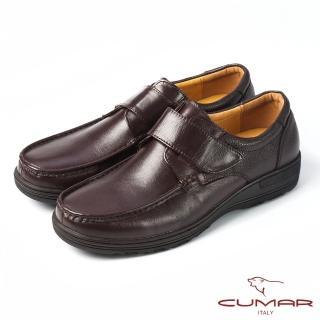 【CUMAR】CUMAR舒適上班族‧混搭牛皮魔術貼氣墊鞋(咖啡色)