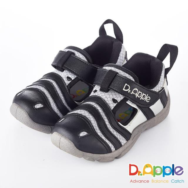 【Dr. Apple 機能童鞋】淘氣繽紛斑馬休閒涼鞋(黑)