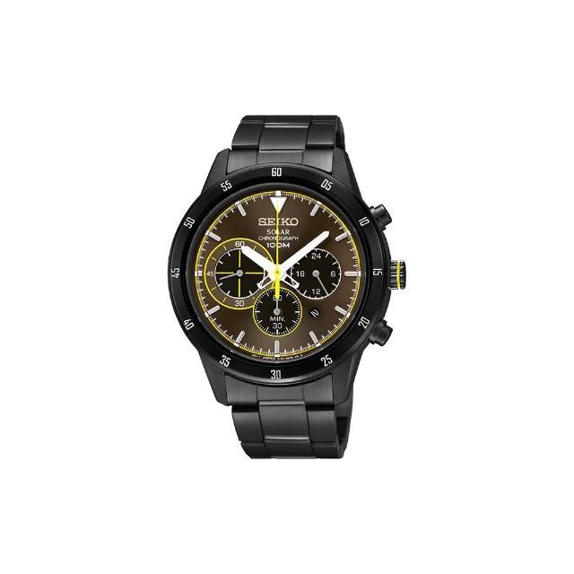 【SEIKO】Criteria 太陽能計時碼錶-咖啡x黑/41mm(V175-0DA0G SSC343P1)