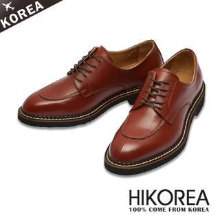 【HIKOREA韓國皮鞋】正韓空運。真牛皮超輕量圓頭剪接皮鞋(73-95暗紅/現+預)