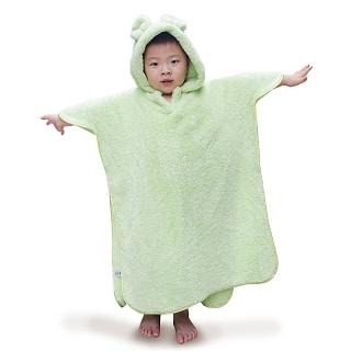 【雪花絨】兒童連帽浴巾(蘋果綠)