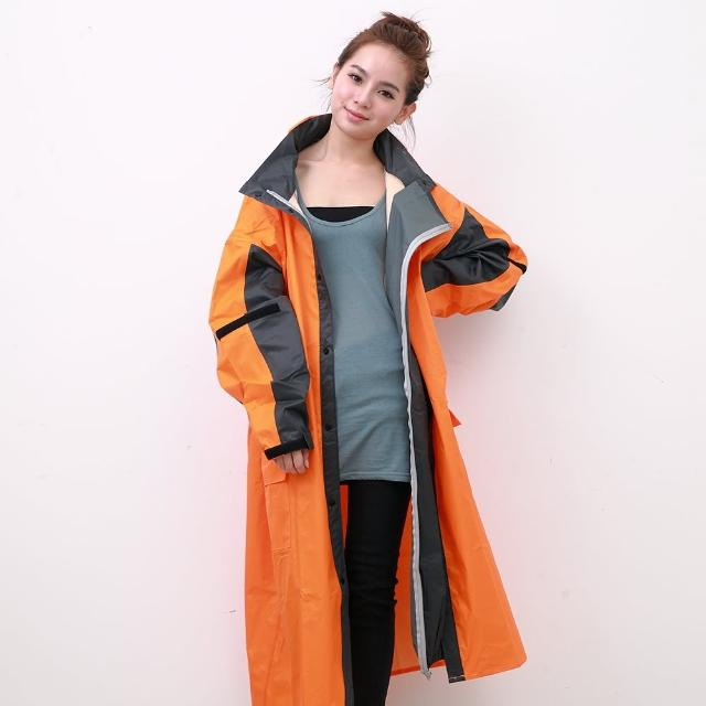 【OutPerform雨衣】勁馳率性連身式風雨衣-橘/灰(機車雨衣、戶外雨衣)