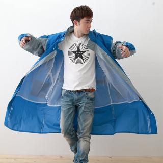 【OutPerform雨衣】勁馳率性連身式風雨衣-藍/灰(機車雨衣、戶外雨衣)