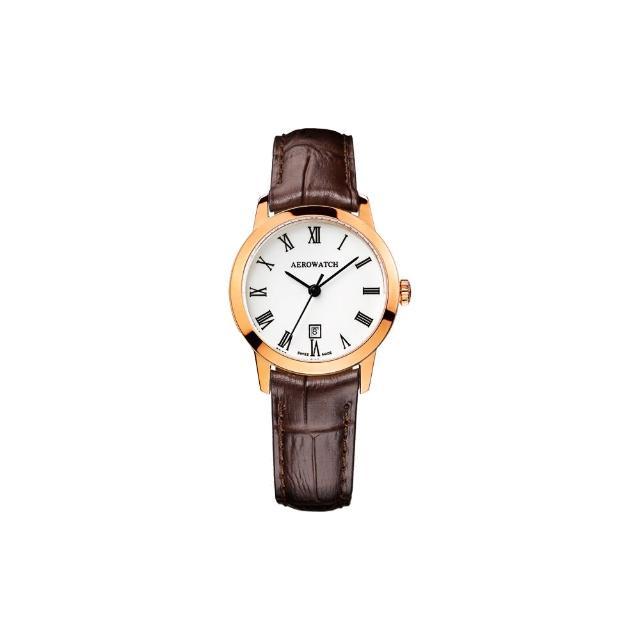 【AEROWATCH】羅馬佳人經典時尚女錶-玫瑰金框x咖啡/29mm(A17973RO01)
