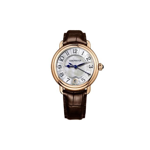 【AEROWATCH】歐式風尚經典女錶-珍珠貝x玫瑰金框/35mm(A42960RO06)