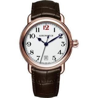 【AEROWATCH】搪瓷復刻紳士時尚腕錶-玫瑰金框x咖啡/40mm(A42900RO15)