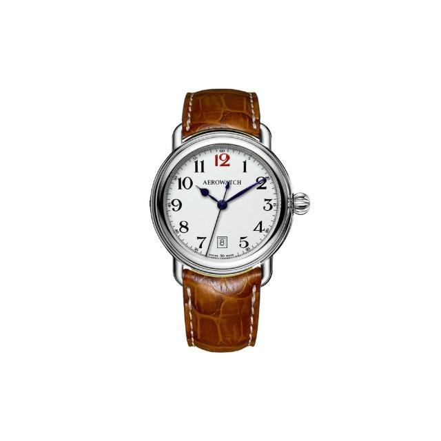 【AEROWATCH】搪瓷復刻紳士時尚腕錶-白x棕/40mm(A42900AA15)