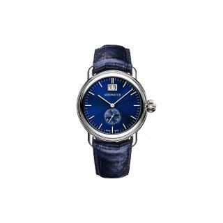 AEROWATCH 太陽飾紋大日期小秒針腕錶 - 藍/40mm (A41900AA02)
