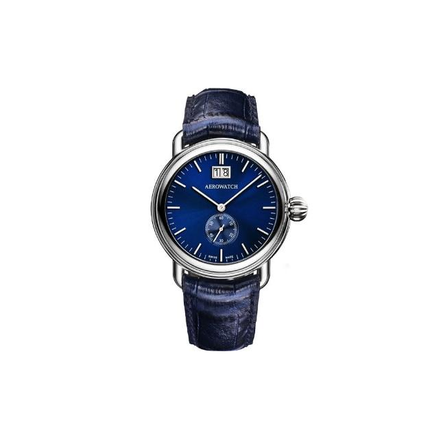 【AEROWATCH】太陽飾紋大日期小秒針腕錶-藍/40mm(A41900AA02)