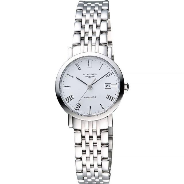【LONGINES】Elegant 優雅系列羅馬機械女錶-白/28mm(L43104116)