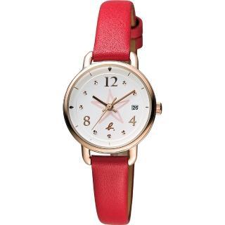 【agnes b.】藝術手繪星星時尚腕錶-玫瑰金框x紅/26mm(VJ22-KR80R BH7010X1)