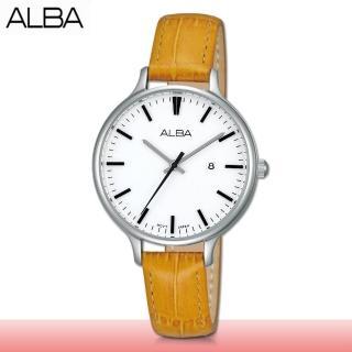 【SEIKO 精工 ALBA 系列】送禮首選 皮革款石英女錶 錶殼2.8公分(AH7D97X1)