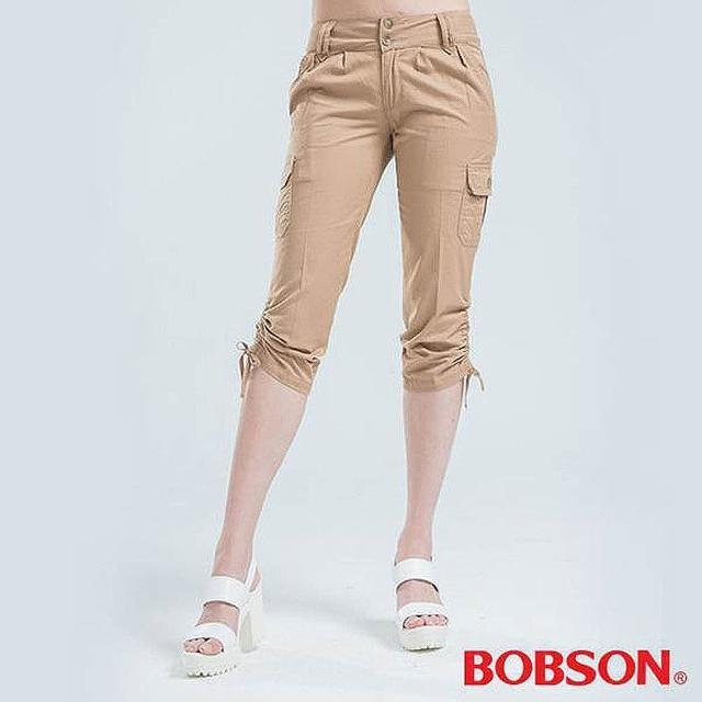 【BOBSON】側邊貼口袋七分褲(卡其)