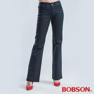 【BOBSON】黑底白條中管伸縮喇叭褲(黑色)