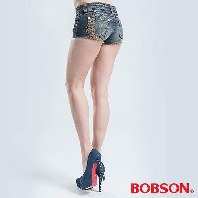 【BOBSON】超短迷你牛仔短褲(藍色)