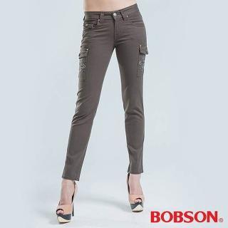 【BOBSON】貼袋刺繡.小直筒色褲(綠)