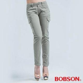 【BOBSON】側貼袋.小直筒色褲(淺綠)