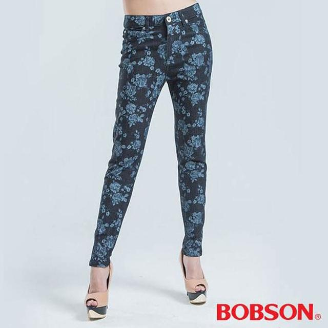 【BOBSON】高腰拔染印花小直筒褲(藍色)評鑑