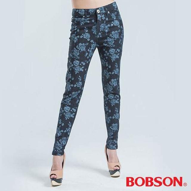 【BOBSON】高腰拔染印花小直筒褲(藍色)