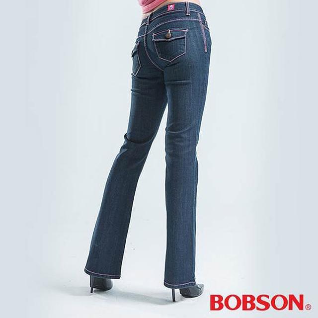 【BOBSON】貓鬚刷白伸縮小喇叭褲(藍色)