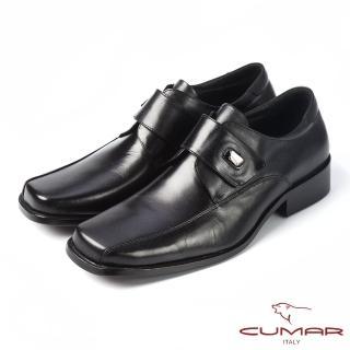 【CUMAR】CUMAR百搭首選 上班族魔術貼真皮皮鞋(黑)