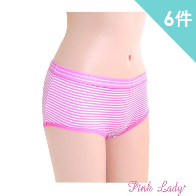 【PINK LADY】糖果色系 織帶棉柔條紋風內褲474(6件組)