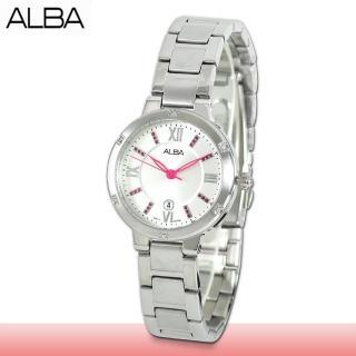 【SEIKO 精工 ALBA 系列】送禮首選 晶鑽石英指針女錶 鏡面2.5公分(AH7B53X1)