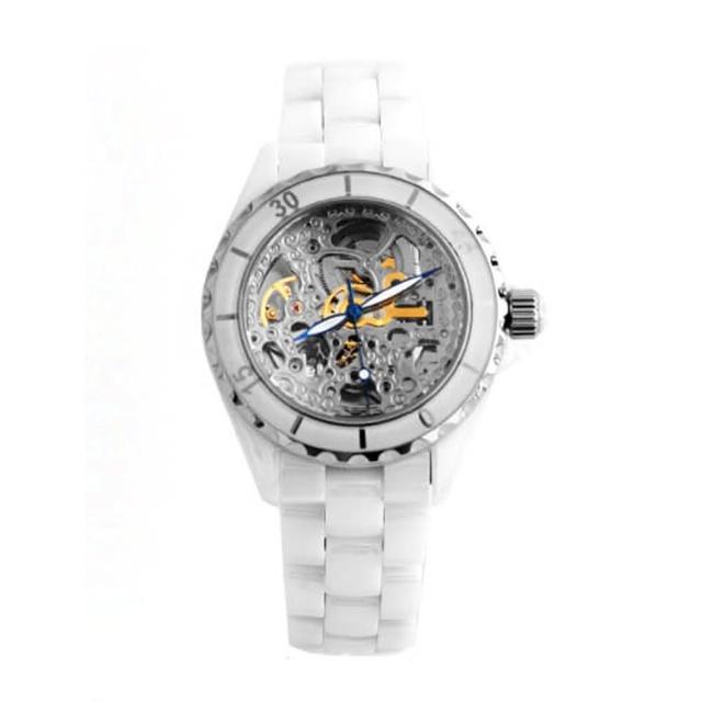 【范倫鐵諾˙古柏】藍寶石水晶高精密全陶瓷自動上鍊機械手錶腕錶