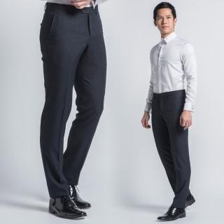 【極品西服】英倫復古仿毛修身平面西褲 藍黑格(BS433-5)