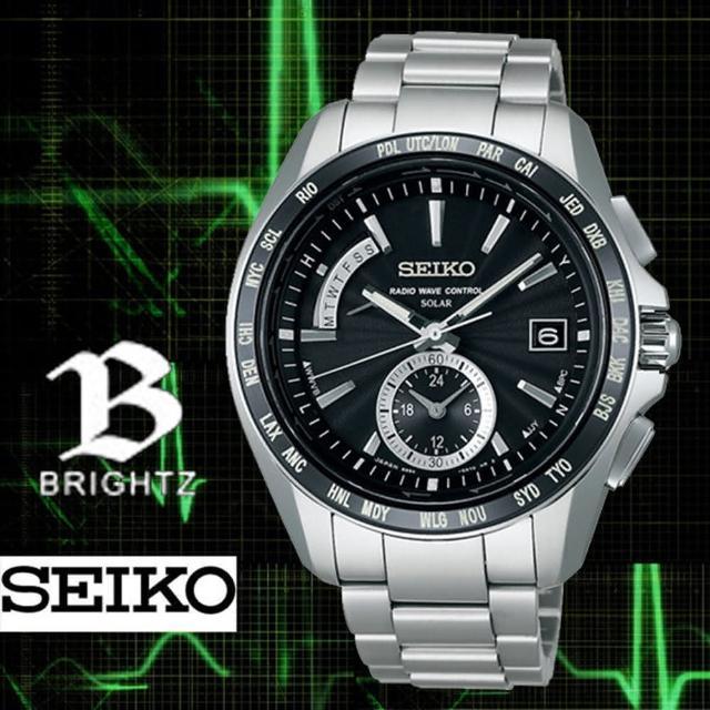 【SEIKO 精工】BRIGHTZ 星際爭霸 鈦金屬四局電波腕錶(黑x銀/42mm/8B54-0BB0D)