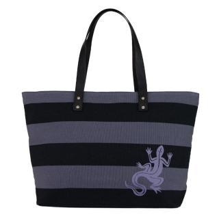 【agnes b.】蜥蜴雙色條紋帆布購物包(黑灰)