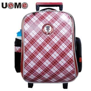 【UnMe】EZ高年級紅格風拉桿後背兩用書包(魅力紅)