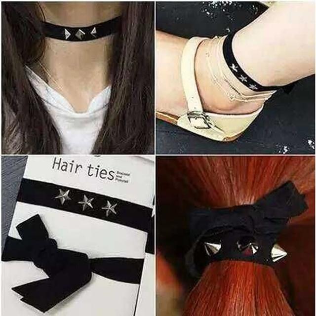 【梨花HaNA】韓國製作人HAIR TIE項鍊腳鍊手鍊多用鉚釘鍊飾