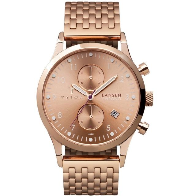 【TRIWA Chrono系列】北歐雅痞紳士時尚腕錶-玫瑰金(LCST104-BR021414)