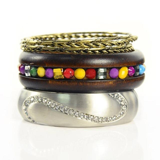 【Lady c.c.】晶繞美鑽柔情多層次手環(銀)
