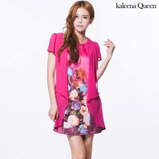 【kaleena Queen】層次雪紡鬱金香洋裝L-2L(桃紅*)