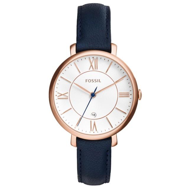 【FOSSIL】網羅質感日期時尚腕錶-玫瑰金框白x深藍皮帶(ES3843)