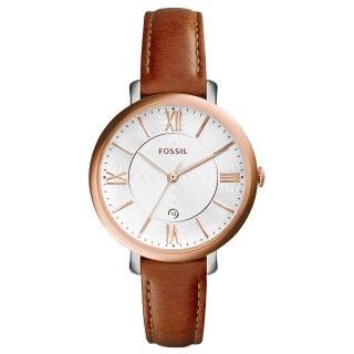 【FOSSIL】網羅質感日期時尚腕錶-玫瑰金框白x咖啡皮帶(ES3842)