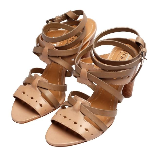 【TOD'S】經典CUOIO牛皮鏤空雕花造型交錯踝飾高跟涼鞋(卡其咖-37號XXW0NM0C340D90P75Q)